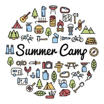 Fondo con elementos de campamento de verano