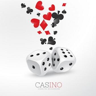 Fondo de elementos de cartas de póquer con dos dados