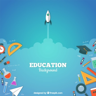 Fondo de elementos de educación en estilo plano