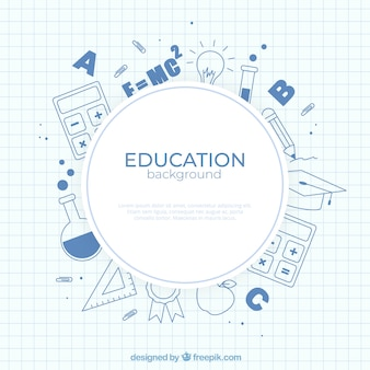 Fondo de elementos de education en estilo plano