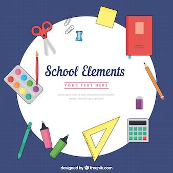 Fondo de elementos de escuela en estilo plano