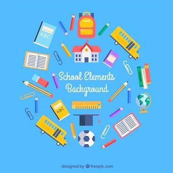 Fondo de elementos de escuela con utensilios educativos