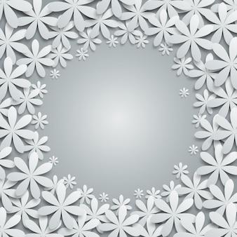 Fondo con elementos florales de papel.