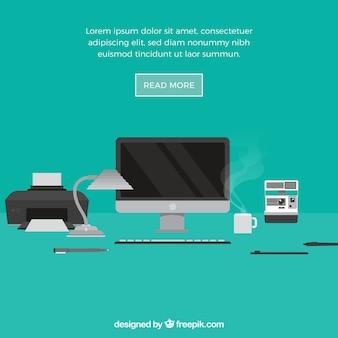 Fondo de elementos gráficos con oficina