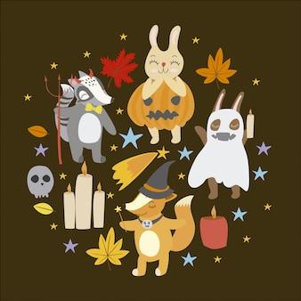 Fondo con elementos de halloween
