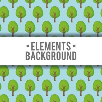 Fondo de elementos con el icono de planta de árbol