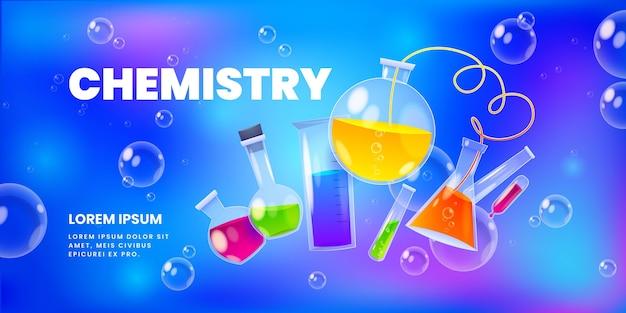 Fondo de elementos de laboratorio de química