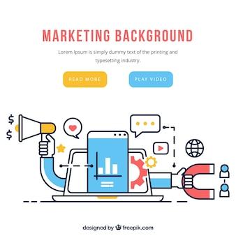 Fondo de elementos de marketing en estilo plano