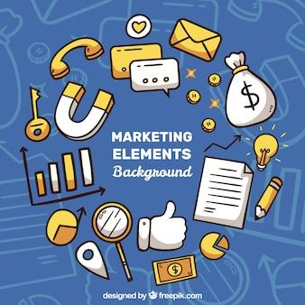 Fondo de elementos de marketing