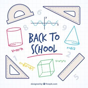 Fondo de elementos de matemáticas dibujados a mano