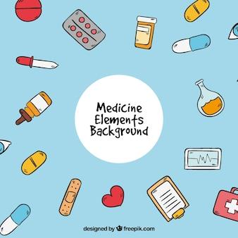 Fondo de elementos de medicina en estilo hcho a mano