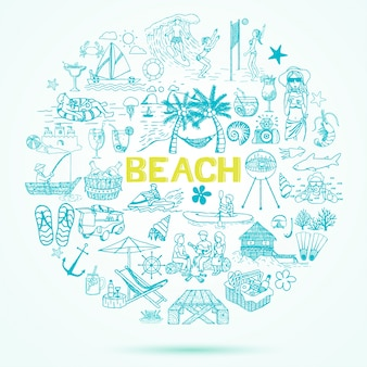 Fondo de elementos de playa dibujados a mano