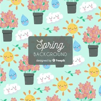 Fondo elementos primavera dibujados a mano