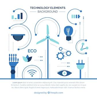 Fondo de elementos de tecnología en estilo plano