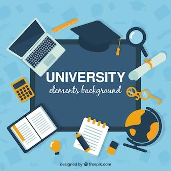 Fondo de elementos de universidad en estilo plano