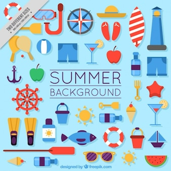 Fondo de elementos de verano en diseño plano