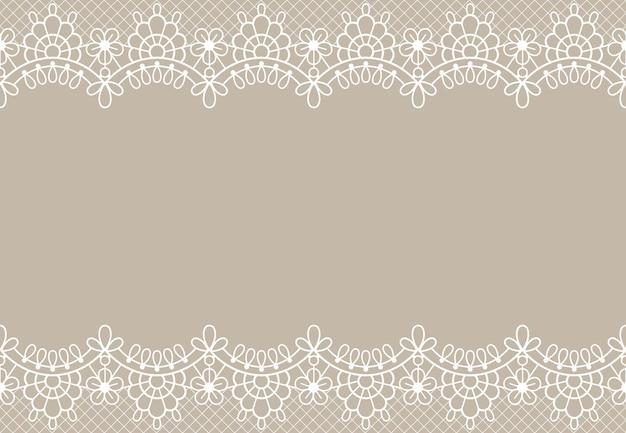 Fondo de encaje. bordes de encaje floral de lujo elemento de diseño adornado con lugar para el texto. textura de vector de boda, cumpleaños o certificado. elemento romántico decorativo con detalles en beige.