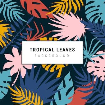 Fondo encantador colorido hojas tropicales
