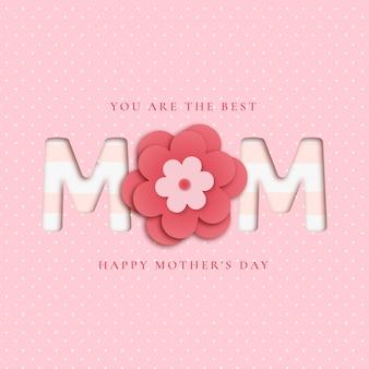 Fondo encantador del día de la madre con flores de papercut