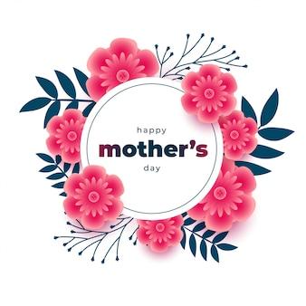 Fondo encantador del día de las madres con decoración de marco de flores