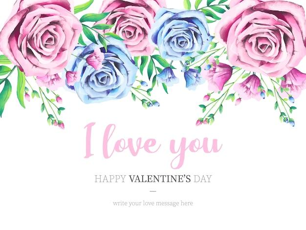 Fondo encantador del día de san valentín con rosas de acuarela