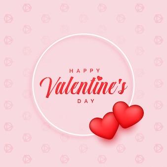 Fondo encantador del día de tarjetas del día de san valentín con dos corazones 3d