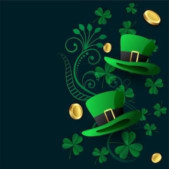 Fondo encantador de los patricks del st con la moneda y las hojas del sombrero
