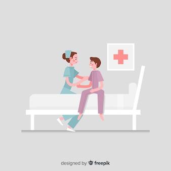 Fondo enfermera plana ayudando a paciente
