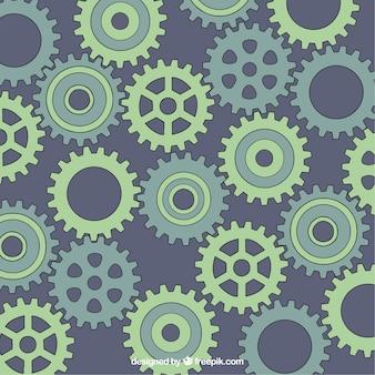 Fondo de engranajes dibujados a mano en tonos verdes