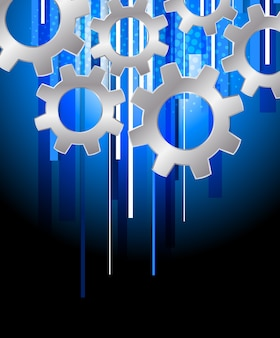 Fondo con engranajes. ilustración de tecnología azul abstracto con rayas