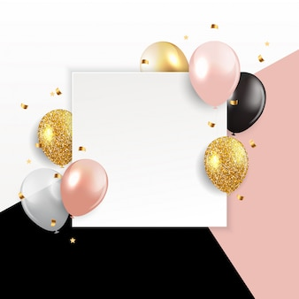 Fondo enmarcado en blanco de globos brillantes para tarjeta