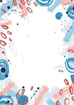 Fondo enmarcado creativo decorado con manchas de pintura rosa y azul, manchas redondas y pinceladas