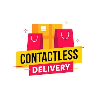 Fondo de entrega sin contacto con bolsas de compras y caja
