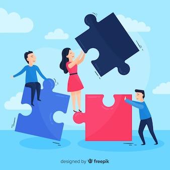 Fondo equipo conectando piezas de puzzle