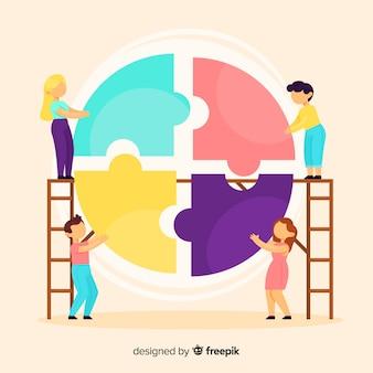 Fondo equipo conectando puzzle