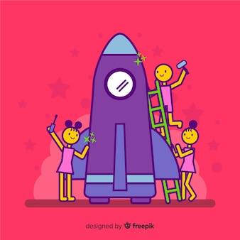 Fondo equipo construyendo cohete
