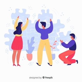 Fondo equipo haciendo puzzle dibujado a mano