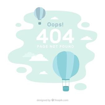Fondo de error 404 con globos en estilo plano
