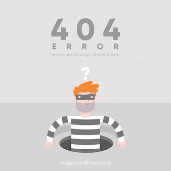 Fondo de error 404 con ladrón en estilo plano