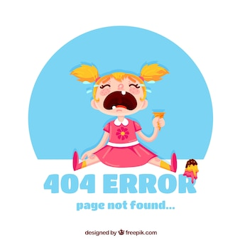 Fondo de error 404 con niña llorando