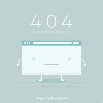 Fondo de error 404 con página rotaen estilo plano