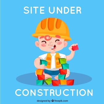 Fondo de error 404 con un trabajador de la construcción