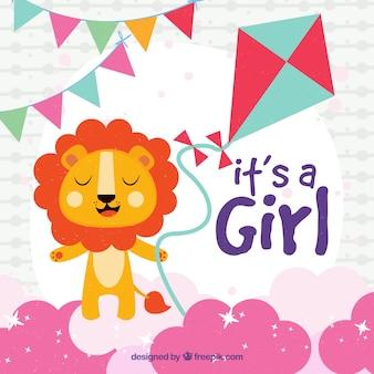 Fondo de es una niña con león