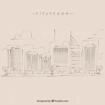 Fondo de esbozo de paisaje de ciudad