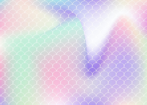 Fondo de escala holográfica con sirena degradada. transiciones de colores brillantes. banner e invitación de cola de pez. patrón submarino y marino para fiesta de chicas. telón de fondo de moda con escala holográfica.