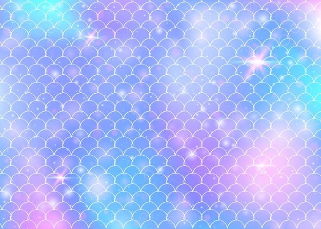 Fondo de escamas de arco iris con patrón de princesa sirena kawaii. bandera de cola de pez con destellos mágicos y estrellas. invitación de fantasía marina para fiesta de chicas. telón de fondo brillante con escamas de arco iris.