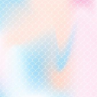 Fondo de escamas de arco iris con patrón de princesa sirena kawaii.