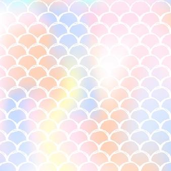 Fondo de escamas de sirena con degradado holográfico. transiciones de colores brillantes.