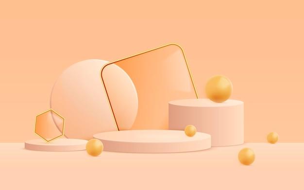 Fondo de escena abstracta 3d con formas