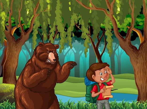 Fondo de escena de bosque con excursionista y oso